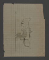 2002.420.34 front Pencil drawing depicting a knight  Click to enlarge