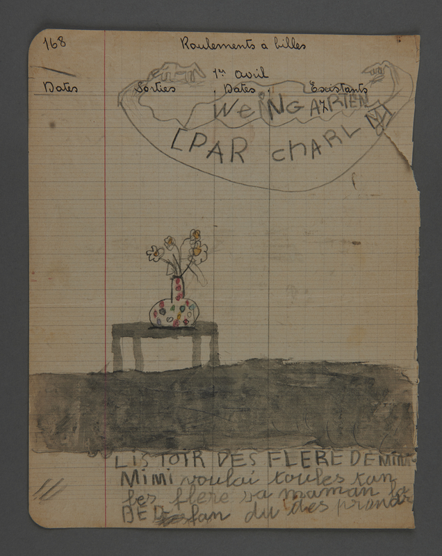 2002.420.36 front Double-sided drawing of a table with a vase of flowers and skiers