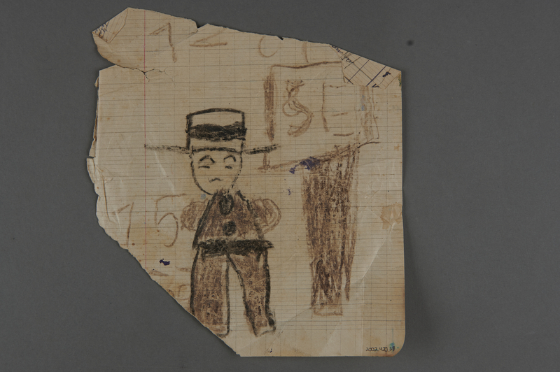 2002.420.38 back Double-sided crayon drawing depicting a train and a man with a hat