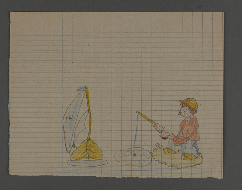 2002.420.40 front Drawing of a boy fishing