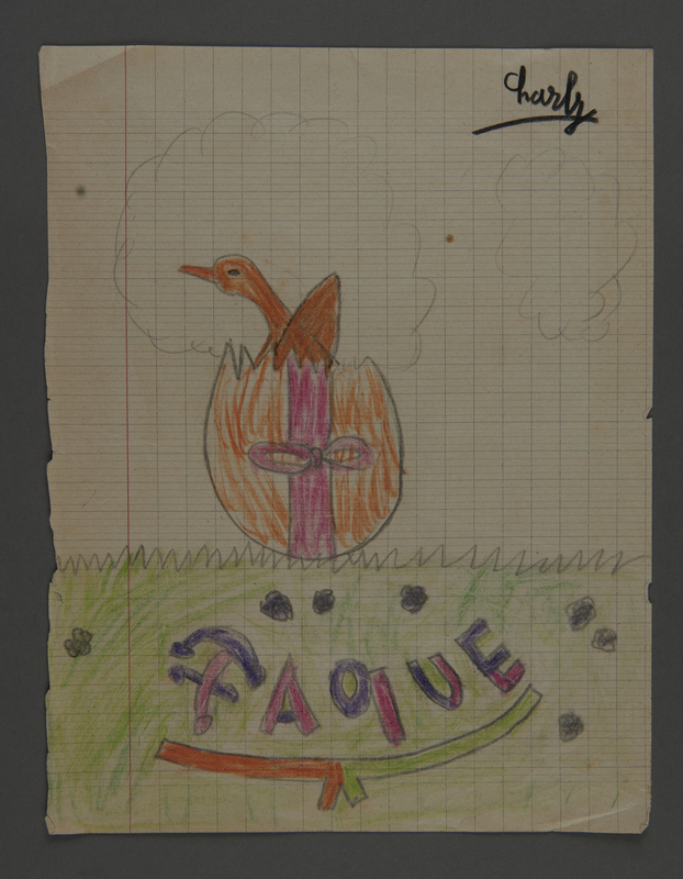 2002.420.47 front Pencil and crayon drawing depicting an Easter egg