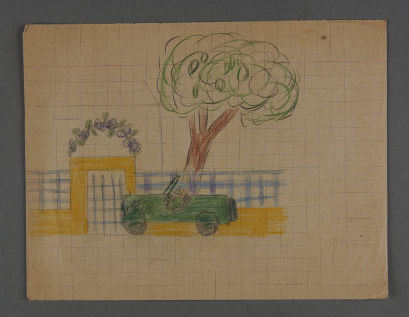 2002.420.37 front Drawing depicting a car in front of a gate and a tree