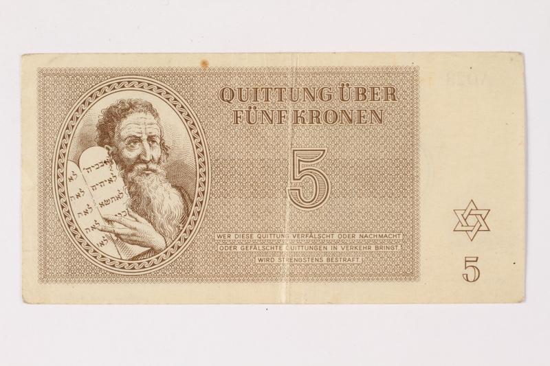 1992.29.1 front Theresienstadt ghetto-labor camp scrip, 5 kronen note