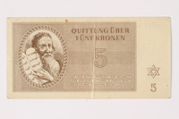 1992.29.1 front Theresienstadt ghetto-labor camp scrip, 5 kronen note  Click to enlarge