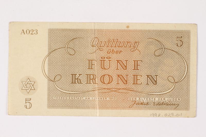 1992.29.1 back Theresienstadt ghetto-labor camp scrip, 5 kronen note
