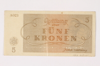 1992.29.1 back Theresienstadt ghetto-labor camp scrip, 5 kronen note  Click to enlarge