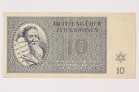 1992.29.2 front Theresienstadt ghetto-labor camp scrip, 10 kronen note  Click to enlarge