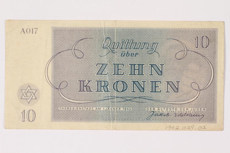 1992.29.2 back Theresienstadt ghetto-labor camp scrip, 10 kronen note