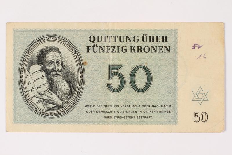 1992.29.4 front Theresienstadt ghetto-labor camp scrip, 50 kronen note