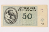 1992.29.4 front Theresienstadt ghetto-labor camp scrip, 50 kronen note  Click to enlarge
