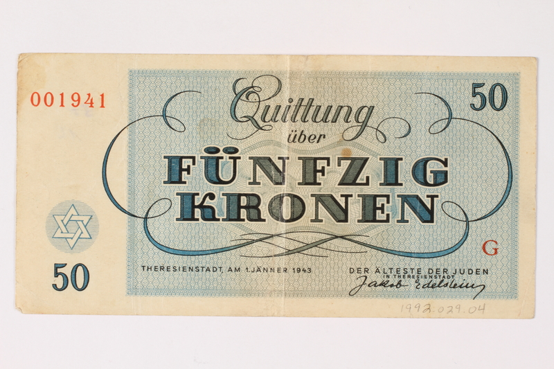1992.29.4 back Theresienstadt ghetto-labor camp scrip, 50 kronen note