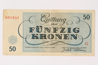 1992.29.4 back Theresienstadt ghetto-labor camp scrip, 50 kronen note  Click to enlarge