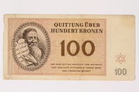 1992.29.5 front Theresienstadt ghetto-labor camp scrip, 100 kronen note  Click to enlarge