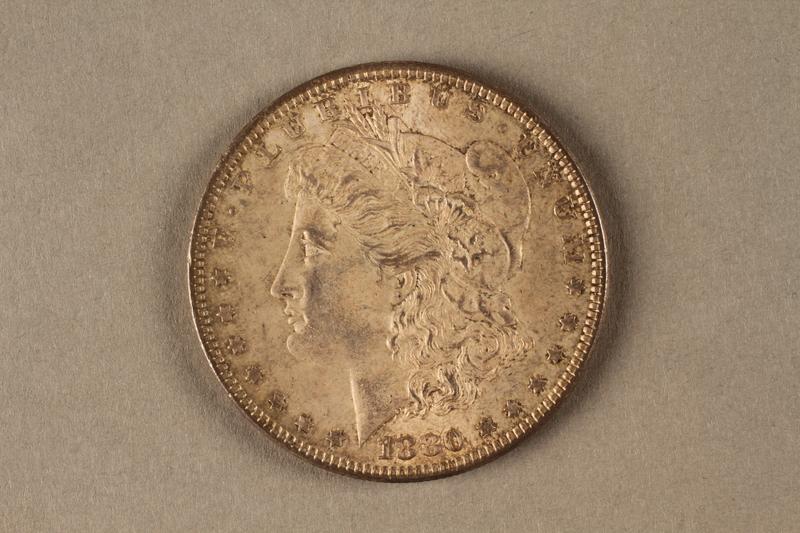 2019.81.6 front 1880 American half dollar coin