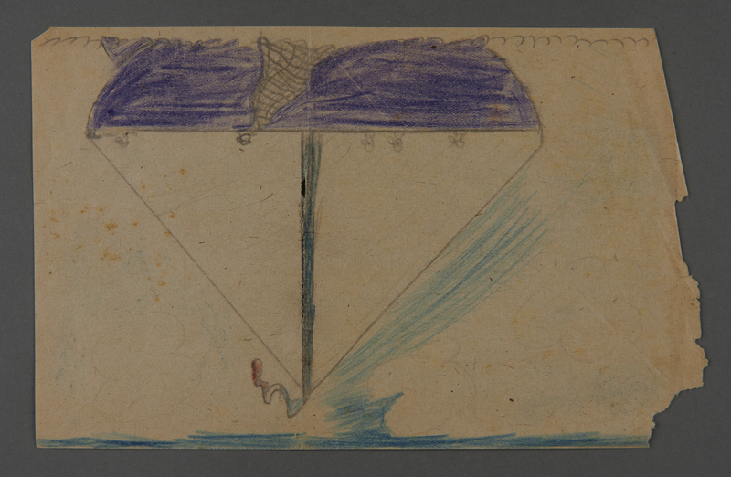 2002.420.60 front Double-sided sketch depicting a boat and a tree