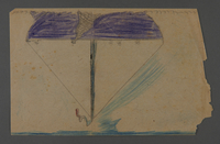 2002.420.60 front Double-sided sketch depicting a boat and a tree  Click to enlarge