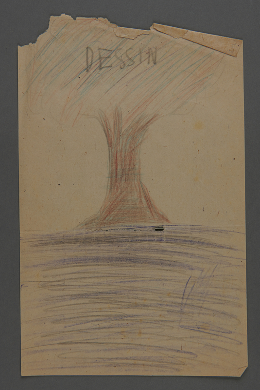 2002.420.60 back Double-sided sketch depicting a boat and a tree