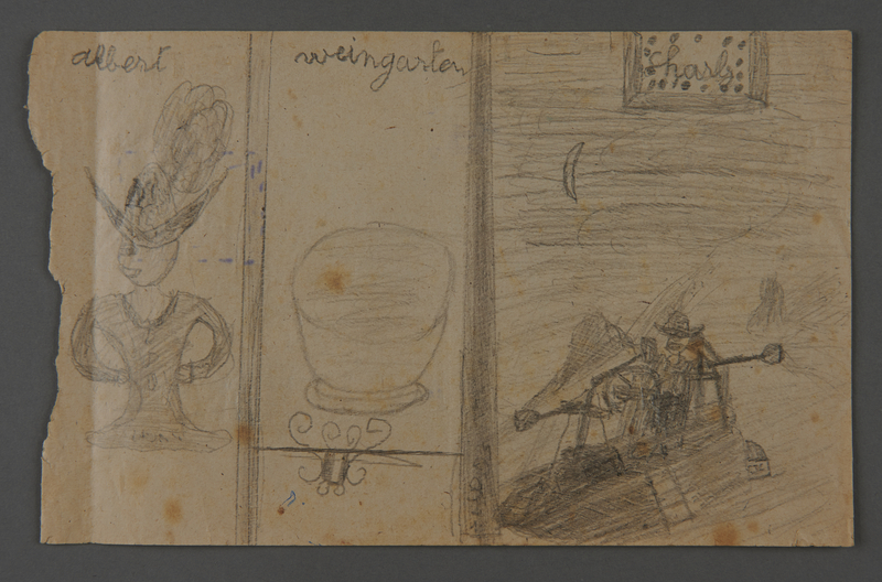 2002.420.61 front Double-sided pencil and crayon sketches