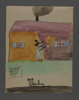 2002.420.80 front Watercolor depicting Mickey Mouse painting a house  Click to enlarge