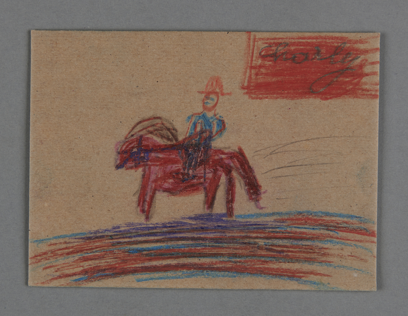 2002.420.81 front Drawing on cardboard of a man riding a horse