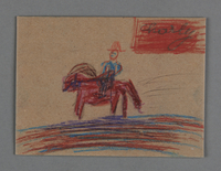2002.420.81 front Drawing on cardboard of a man riding a horse  Click to enlarge