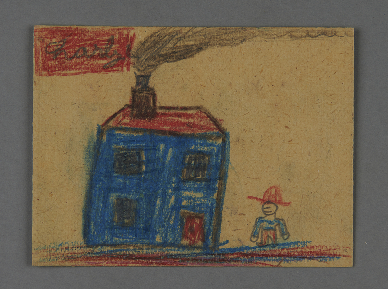 2002.420.82 front Drawing on cardboard of a house