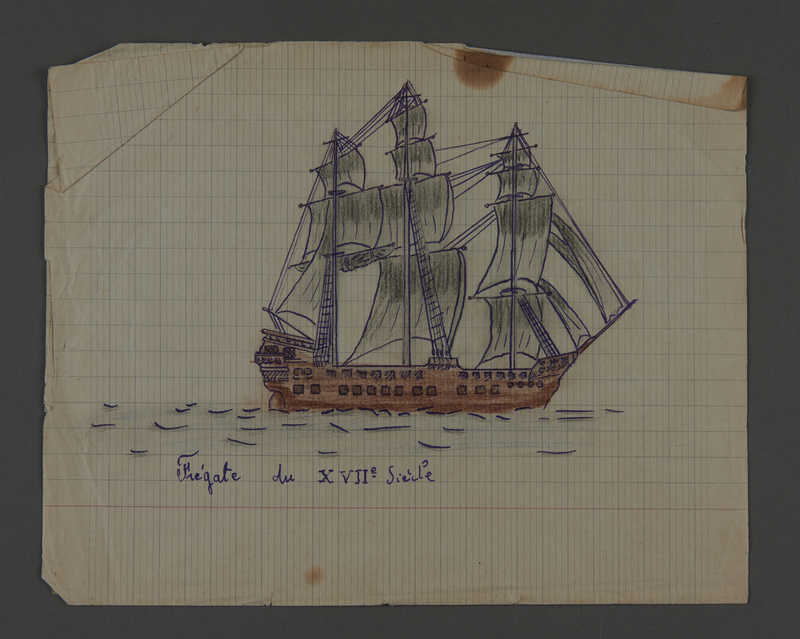 2002.420.101 front Drawings of a Greek ship and a 17th century frigate