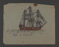 2002.420.101 front Drawings of a Greek ship and a 17th century frigate  Click to enlarge