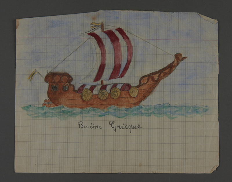 2002.420.101 back Drawings of a Greek ship and a 17th century frigate