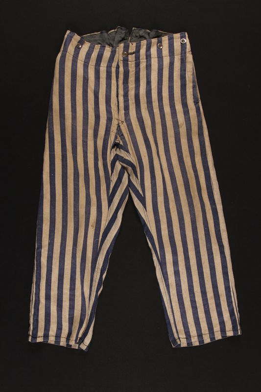 1992.36.1 front Striped concentration camp uniform trousers worn by Polish Jewish inmate