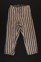 1992.36.1 front Striped concentration camp uniform trousers worn by Polish Jewish inmate  Click to enlarge