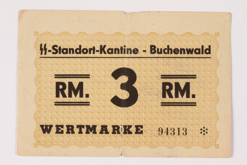 1992.36.4 front Buchenwald Standort-Kantine concentration camp scrip, 3 Reichsmark, issued to inmate