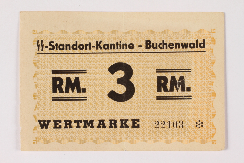 1992.36.5 front Buchenwald Standort-Kantine concentration camp scrip, 3 Reichsmark, issued to inmate
