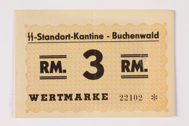 1992.36.6 front Buchenwald Standort-Kantine concentration camp scrip, 3 Reichsmark, issued to inmate