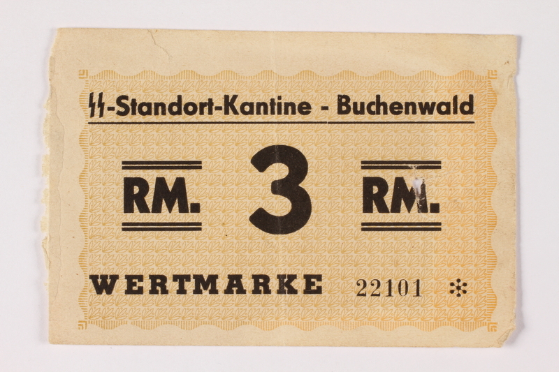 1992.36.7 front Buchenwald Standort-Kantine concentration camp scrip, 3 Reichsmark, issued to inmate
