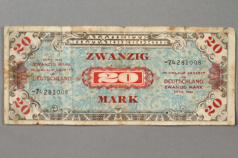 2019.181.2 front 1944 German 20 mark note