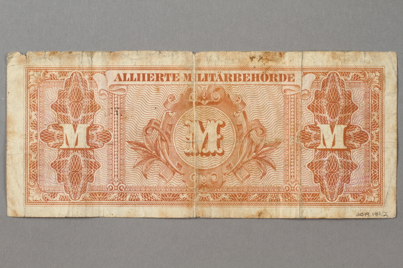 2019.181.2 back 1944 German 20 mark note