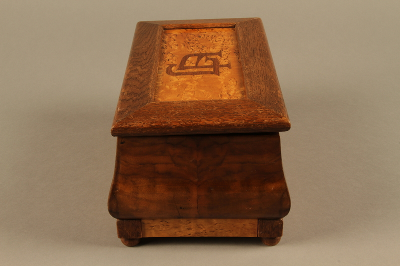 2019.180.2 a-b right Jewelry box with a secret compartment used to hide documents belonging to German Jewish prisoners
