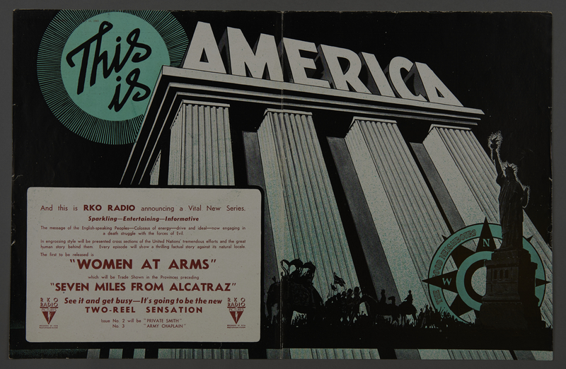 """2018.590.100 front Trade advertisement for the """"This is America"""" film series that includes """"Women at Arms"""" (1943)"""