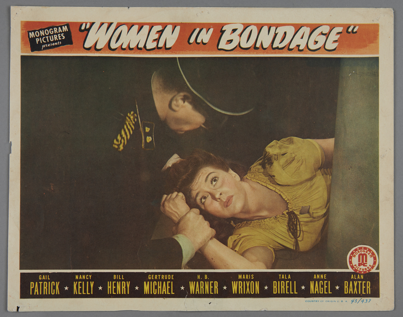 """2018.590.103.1 front Set of four lobby cards for the film """"Women in Bondage"""" (1944)"""
