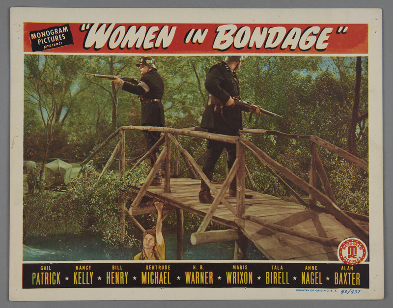 """2018.590.103.2 front Set of four lobby cards for the film """"Women in Bondage"""" (1944)"""