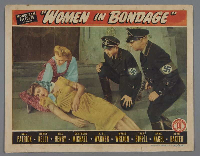 """2018.590.103.3 front Set of four lobby cards for the film """"Women in Bondage"""" (1944)"""
