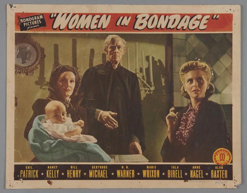 """2018.590.103.4 front Set of four lobby cards for the film """"Women in Bondage"""" (1944)"""