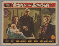 """2018.590.103.4 front Set of four lobby cards for the film """"Women in Bondage"""" (1944)  Click to enlarge"""
