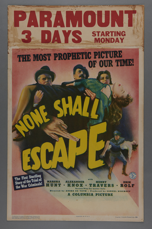 """2018.590.106 front Window card for the film """"None Shall Escape"""" (1944)"""