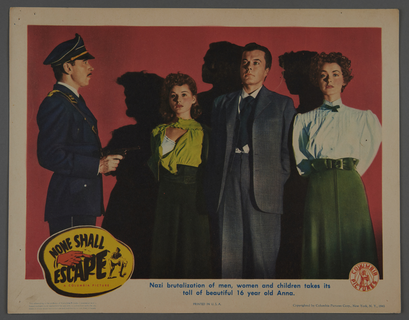 """2018.590.107.2 front Set of six lobby cards for the film """"None Shall Escape"""" (1944)"""