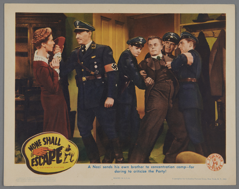"""2018.590.107.3 front Set of six lobby cards for the film """"None Shall Escape"""" (1944)"""