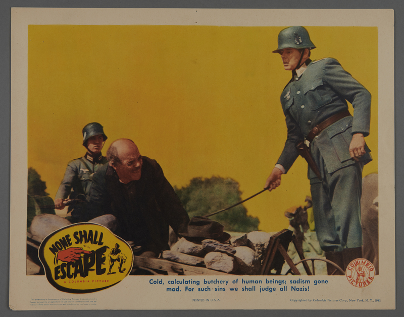 """2018.590.107.4 front Set of six lobby cards for the film """"None Shall Escape"""" (1944)"""