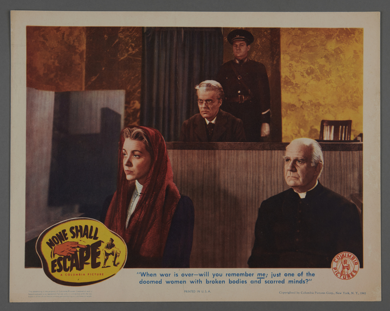 """2018.590.107.6 front Set of six lobby cards for the film """"None Shall Escape"""" (1944)"""