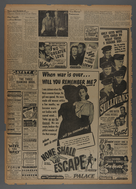 """2018.590.110 front Newspaper page featuring an advertisement for the film """"None Shall Escape"""" (1944)"""